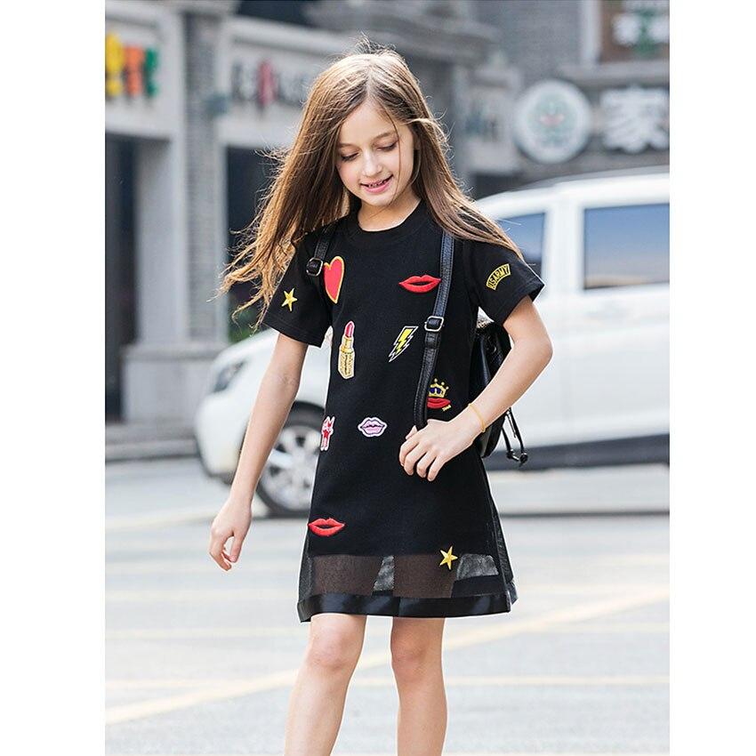 retail kids girls' summer dresses 2017 cotton striped
