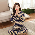 Outono nova manga longa pijama terno mulher tripe pijamas mujer inverno sprot Lovelys M-2XL pano casa tempo de Lazer das Mulheres conjuntos
