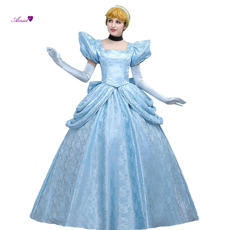 Custom Made Princess Cinderella  Satin Lace Cosplay Costume Gorgeous Dress Women's Luxury Light Blue Party Long Dress Ball Gown