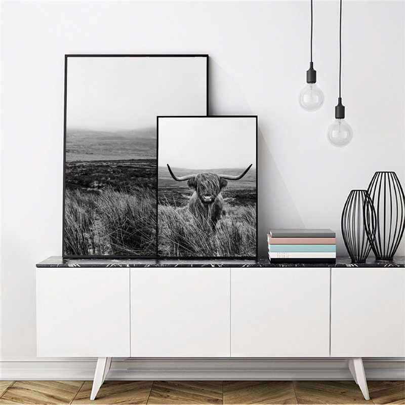 高地牛印刷やポスター、家畜壁アートスコットランド牛キャンバス絵画写真農家キッチンの装飾
