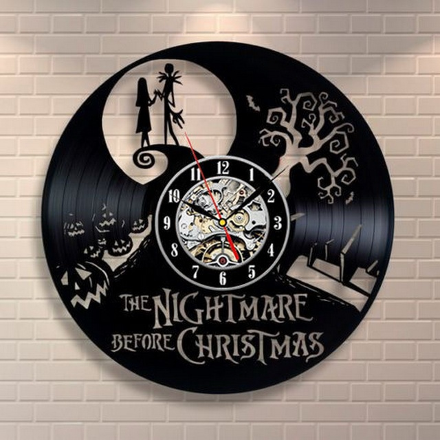 Кошмар Перед Рождеством Черный Винил Часы Творческий CD Настенные Часы Антикварные Украшения Дома Horloge Murale