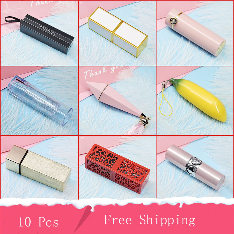 10pcs Mini 5g Empty Lipstick Tube 12.1 Mm Kinds Of Styles Lipstick Containers Lip Gloss Tube For Women ,Beautiful Makeup Tools.