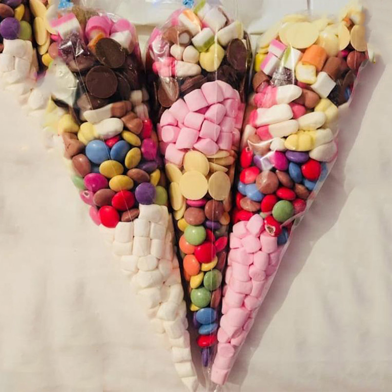 WEIGAO 50Pcs Sugar Packaging Bags Cellophane Clear Candy Cone Bags For Wedding Birthday Party Baby Shower Decor Kids Favor Bags
