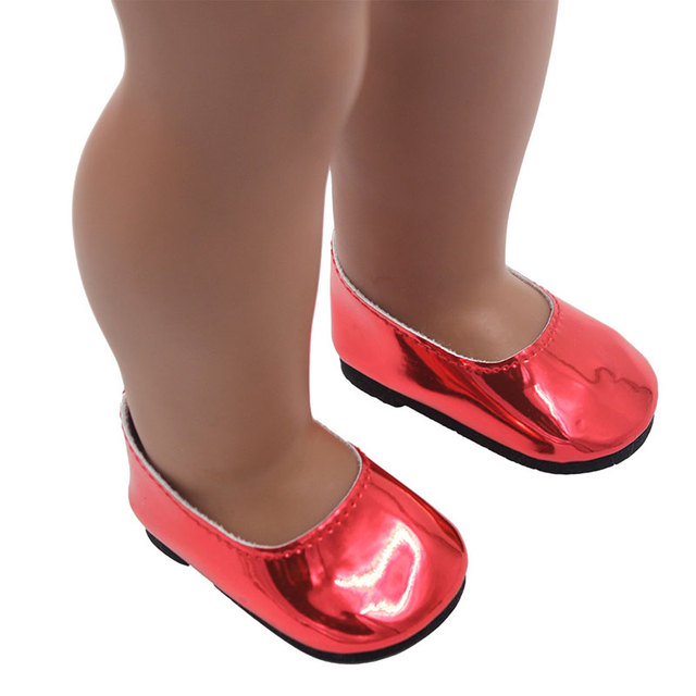Cute 18 Inch American Girl Doll Bright Leather Shoes For 43cm Baby Born Zapf Doll  Mini Shoes For Christmas Gift Free Shipping