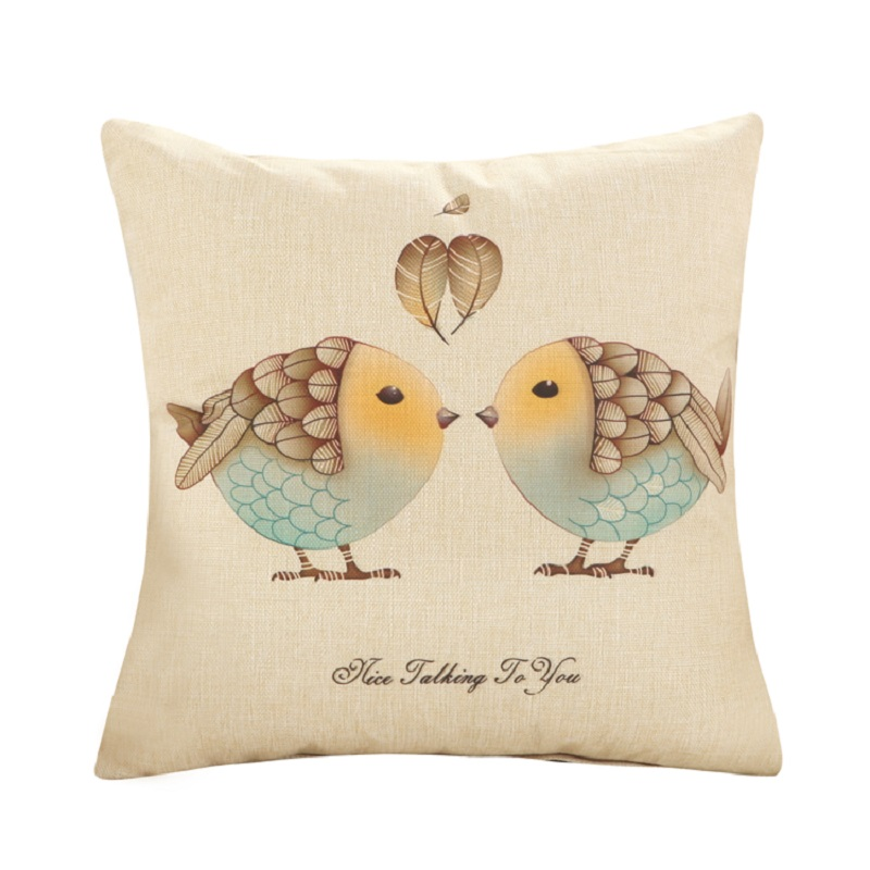 Love Birds Cushions Cover without insert America Vintage Lucky Design Sofa Decorative Throw Pillow Case Office Sofa Decor