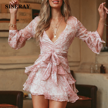 Elegant Layered Balloon Sleeve Chiffon Dress Women V Neck Floral Ruffle Short Dress Romantic Holiday Dress Ladies Sash Dresses