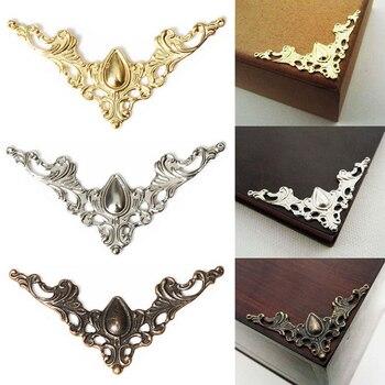 12 Uds. Cubierta protectora decorativa para joyería de latón antiguo álbum de recortes Protector de esquina de libro de Metal