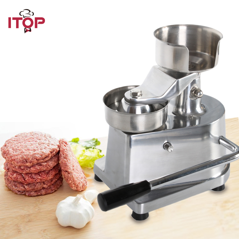 ITOP 100mm 130mm Hamburger Meat Press Patty Maker Forming Machine Burger Press With 500pcs oil paper DIY Kitchen Tools meat pie maker hand press hamburger patty making forming machine