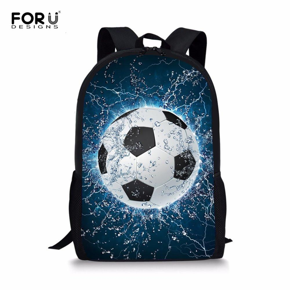 FORUDESIGNS Personalized Classic Children Backpack Custom Kids School Bag Football Book Bag Cat School Backpack For Teeange Girl