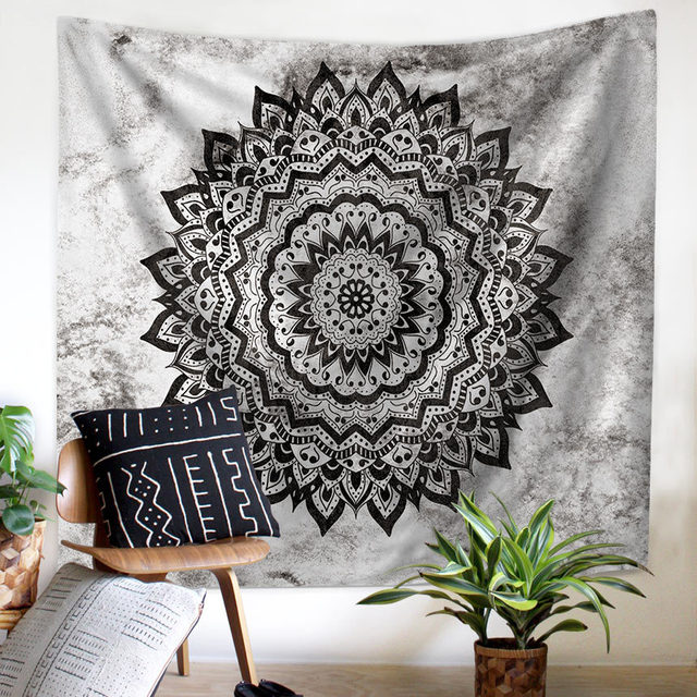 Tapestry Mandala Flower Wall Hanging Farmhouse Home Decor Boho Bohemian Psychedelic Ceiling Window Blanket Bedspread Beach Towel