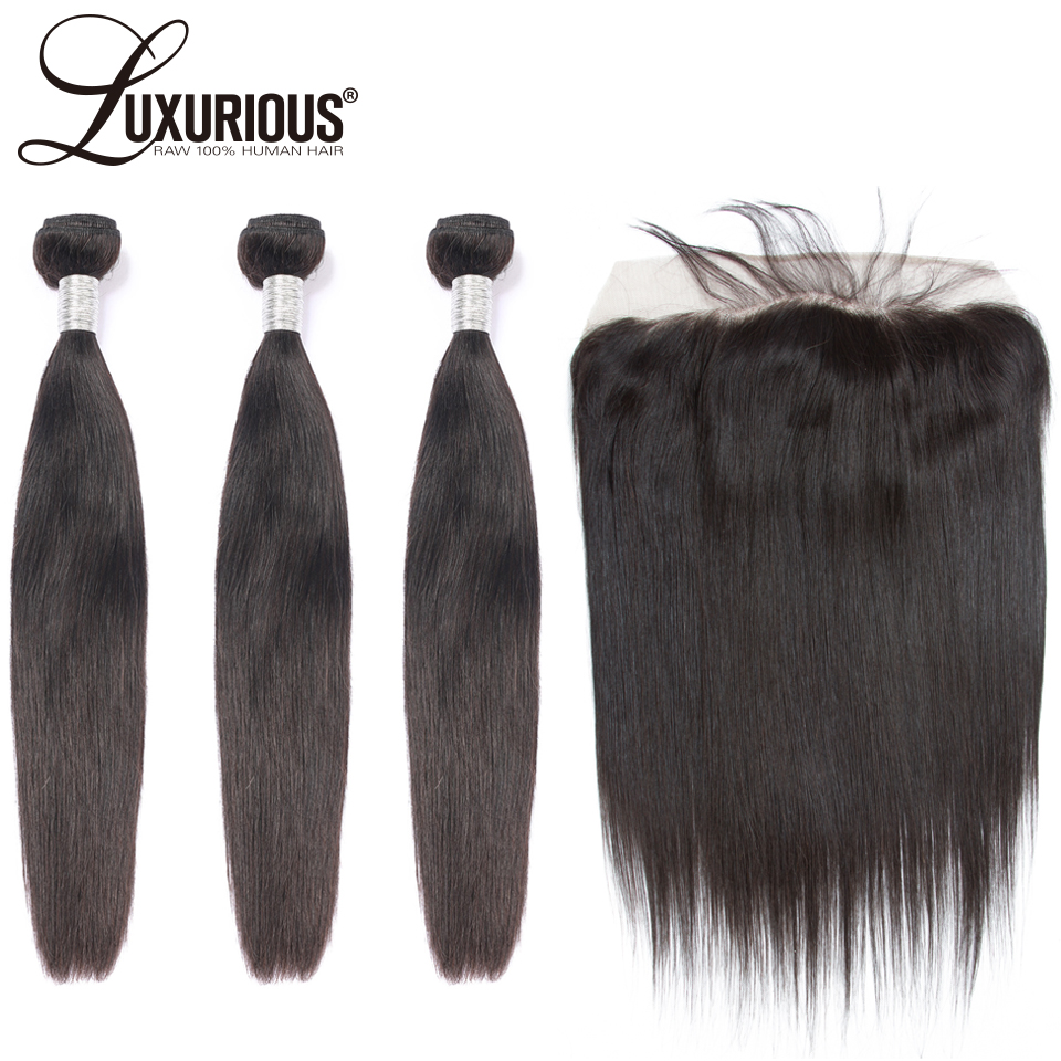 Brazilian Straight Bundles With Frontal 4PCS Human Hair Bundles With Closure Remy Hair Weave Lace Frontal