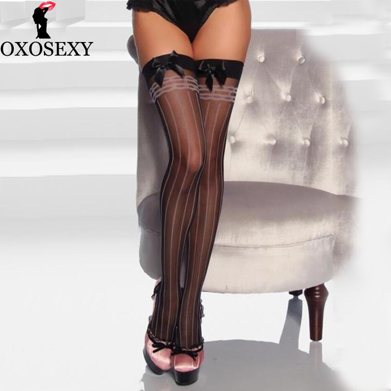 a981d800d8a Pink Striped Bow Women Sexy Retro Nylon Stockings Female Long Thigh High  Stocking Vintage Medias Stockings For Garter Thin 313