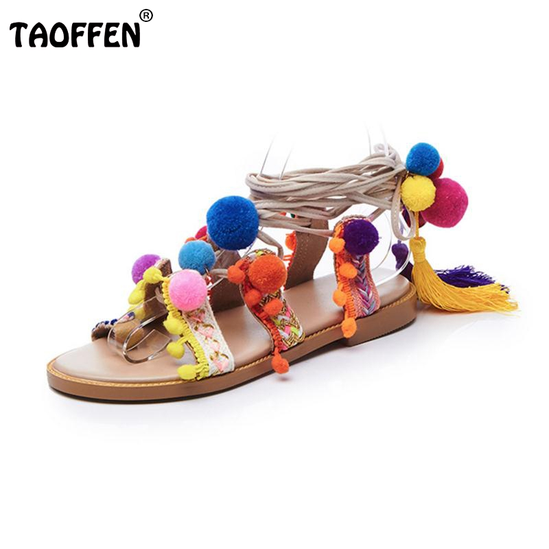 TAOFFEN Size 33-42 Lady Real Leather Flats Sandals Bowtie Gladiator Cross Strap Pompon Shoes Party Club Sexy Female Footwear ladies real leather pumps shoes women pointed toe cross strap gladiator shoes fiork nude color sexy female footwear size 34 40