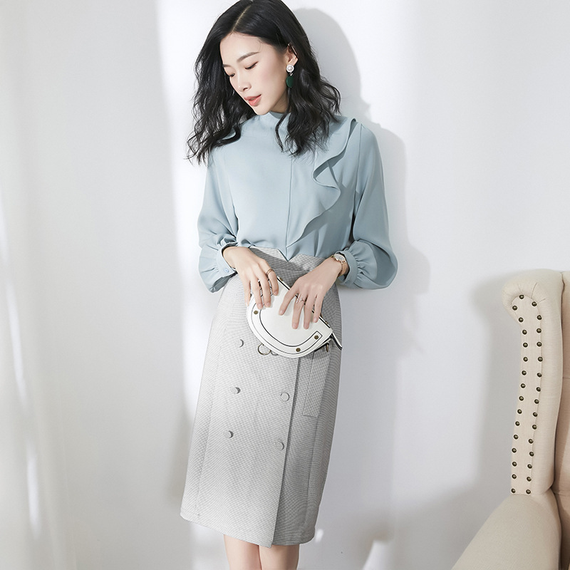 Solid Stand Neck Lantern Sleeve Pullovers Blouse And High Waist Pencil Skirts 2 Piece Skirt Suits 2019 New Women Spring Suits in Women 39 s Sets from Women 39 s Clothing
