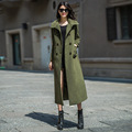 2016 Autumn Winter Army Green Women Coat Plus Size XS-4XL Double Breasted Slim Long Wool Overcoat Abrigos Mujer RS531