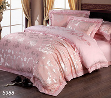 Pink flowers 4pcs silk bedspreads king size silk bedding sets satin silk duvet cover tencel queen size bed linens sale 5988