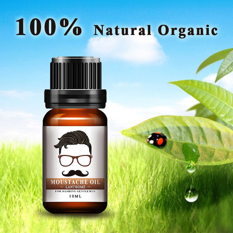 10ml 100% Natural Organic Moustache Oil Beard Wax Balm Hair Loss Products Leave-In Groomed Beard Growth Treatments Maquiagem