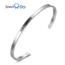 hot deal buy 3 color personalized id bangles for women engrave name stainless steel silver color bracelets & bangles (jewelora ba101918)