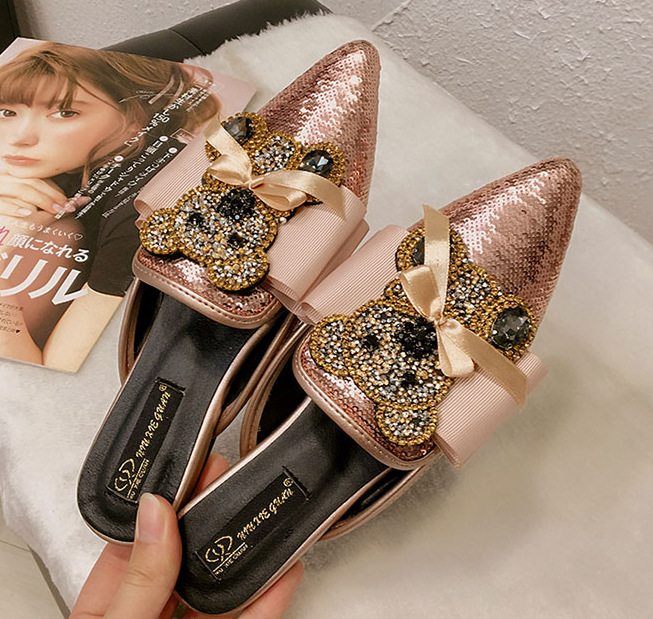 women Crystal h sandals pearl shoes closed toe Pointed Toe panda butterfly knot Butterfly knot Bling Flat heels tip binding