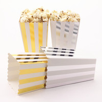 ipalmay 360pcs Foil Silver/Gold Popcorn Box Sweet Party Favor Supply Striped Chevron Dot Lolly Candy Biscuit Paper Samll Box