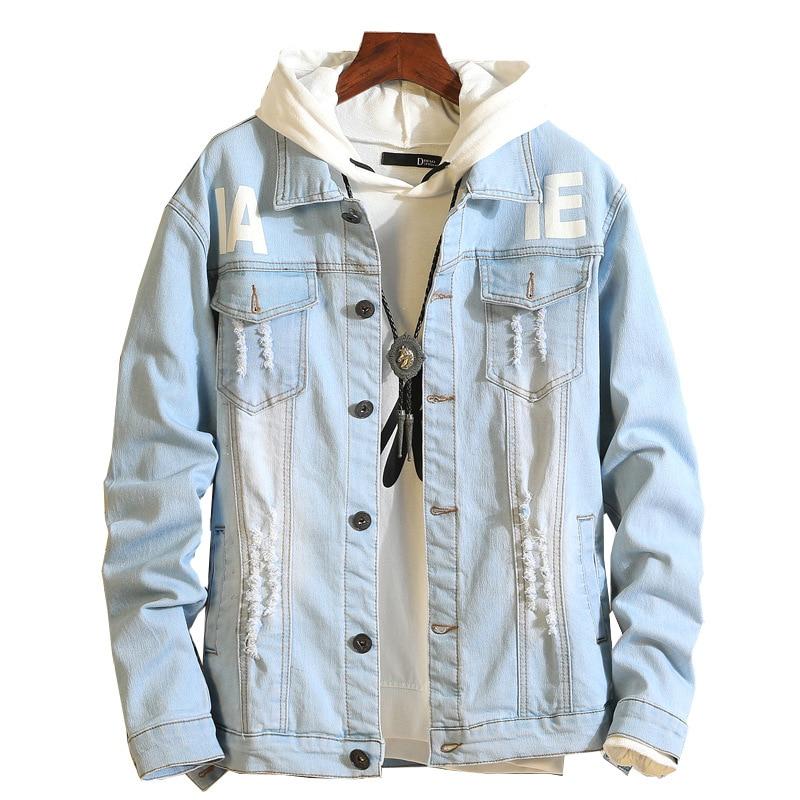 6974915e8464b0 Blu Casual Outwear Blu Autunno Jeans 2018 Streetwear Di Blue light Cappotto  Stampato Giacca Uomini Distressed ...