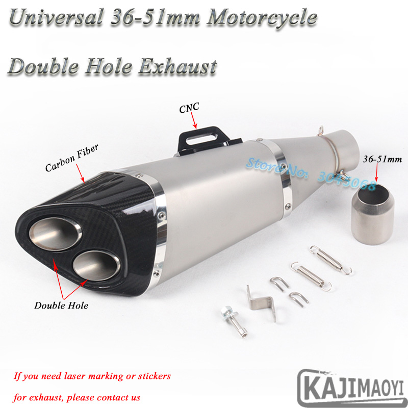 Universal 51mm Motorcycle 2 Holes Exhaust Pipe Escape Modified Motor Carbon Fiber Muffler CNC For Ninja300 Z800 ZX-10R CBR500 R6