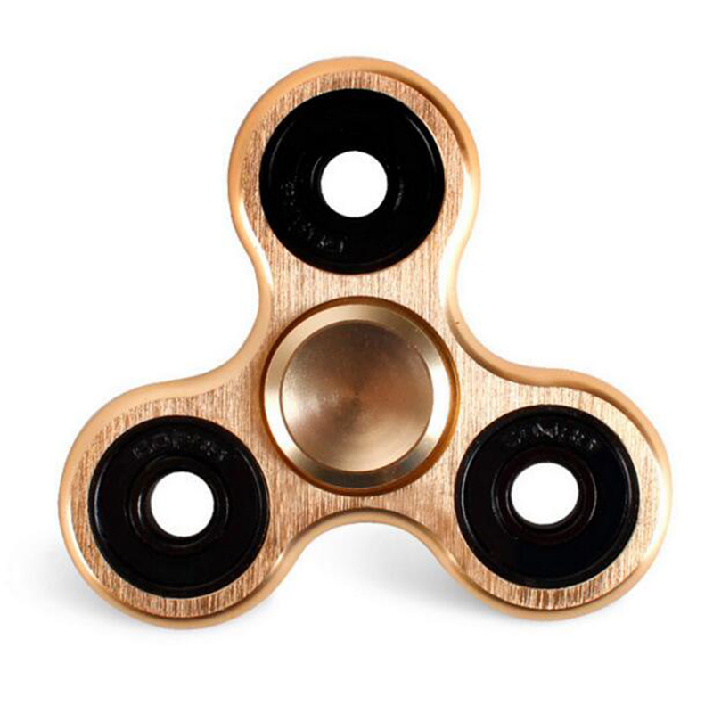 Tri Fidget Spinners With Bearing Fidget Toys Metal Aluminum Alloy Hand Spinner Aluminium Finger Spinner Metal Figet Spiner Gold