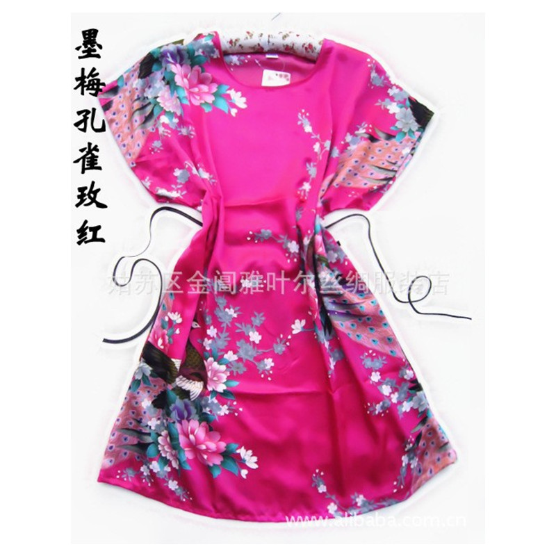 Hot Sale Fashion hot pink Peacock Chinese Womens Silk Rayon Robe Bath Gown pajamas One Size Flower Free Shipping