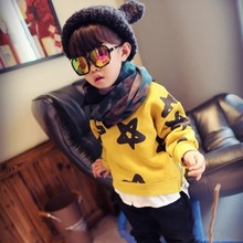 The autumn 2016 new boys and girls children wear short sweater coat baby pentagram clothes Pentagram printing