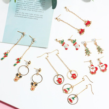 Christmas gifts new ideas long drip dripping earrings simple small reindeer crutches socks earrings women fashion accessories