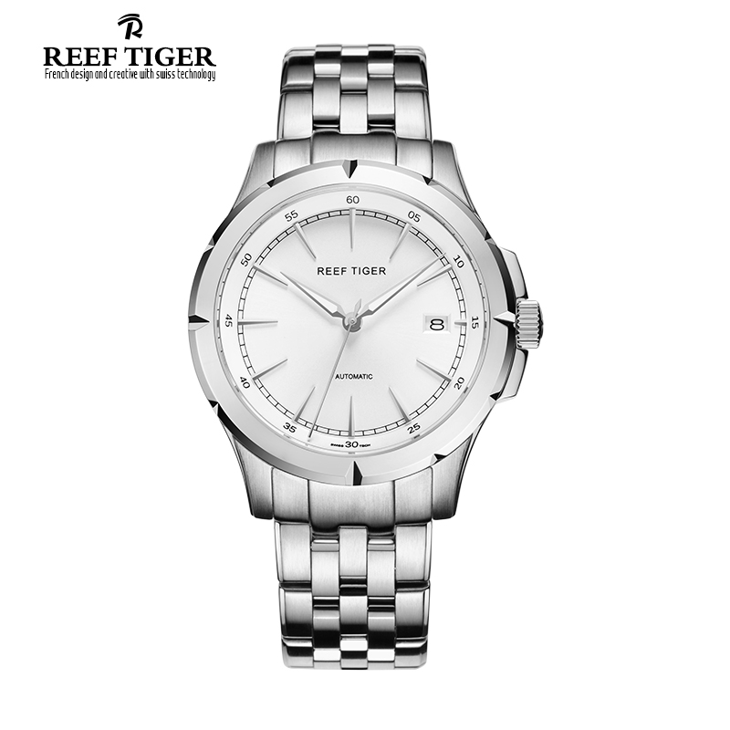 2017 New Luxury Brand Automatic Reef Tiger Spirit Of Liberty Date Men Full Steel Business Watches Silver Stick Markers  - RGA819 new forcummins insite date unlock proramm