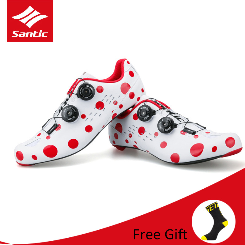 все цены на Santic Red Dot Men Road Bike Cycling Shoes Carbon Fiber Ultralight Bicycle Shoes Breathable Self-Locking Zapatillas Ciclismo онлайн