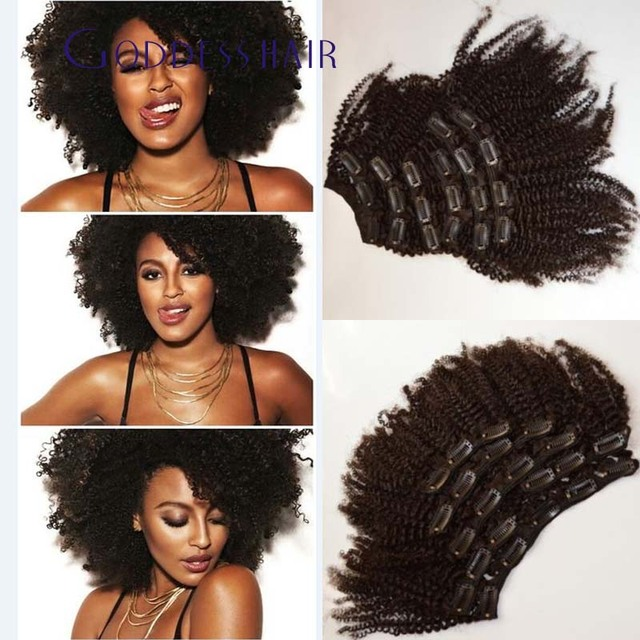 10 Unids/set cilp Brasileño afro rizado en extensiones de cabello humano clip en extensiones de cabello rizado natural negro 100g haz de pelo