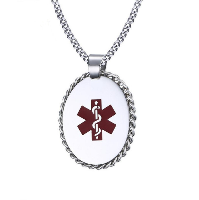 Stainless steel medical id dog tag in oval shaped medical alert stainless steel medical id dog tag in oval shaped medical alert necklace with chain wrapped aloadofball Images