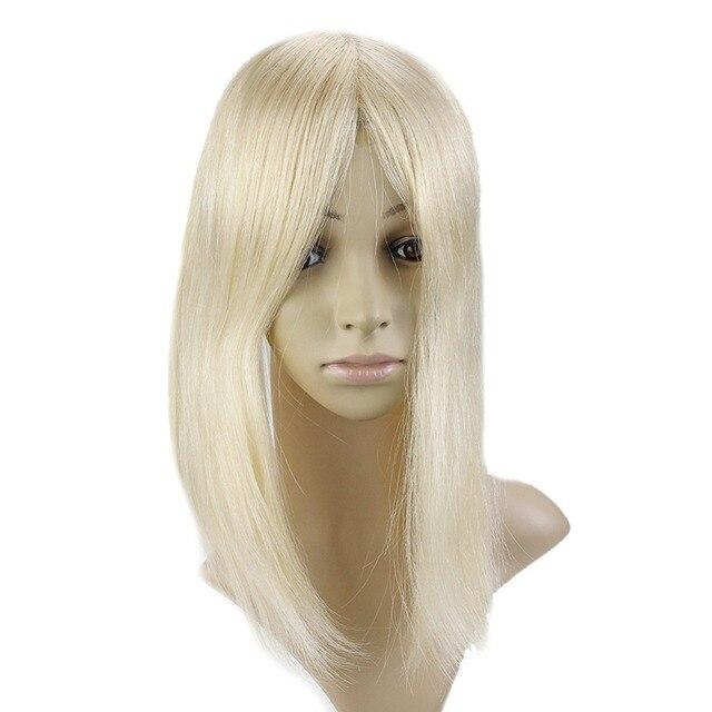 Brillo total 20-40g pelo Remy Topper corona cabello Pieza #613 12*6 cm corona las mujeres Mono Toppers con Clop peluquín para adelgazamiento del cabello