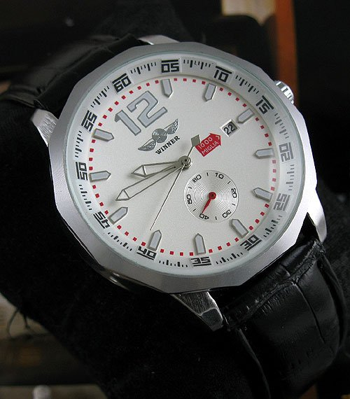 NEW MENS DAY AUTOMATIC WATCH LUXURY WHITE DIAL CHRONO freeship hot new date show mens auto mechanical watch chrono freeship cool