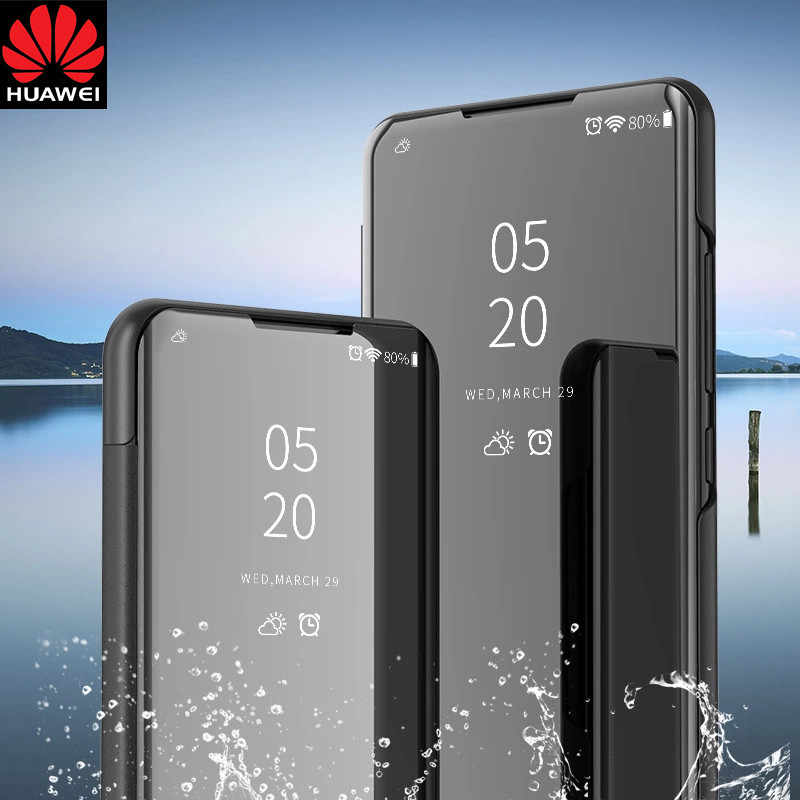 Mirror Flip Leather Case For Huawei P30 P20 pro P10 Lite P Smart 2019 Case Mate 10 20 Pro 20X Nova 3 3i 4 Honor 10 9 Lite Cover.