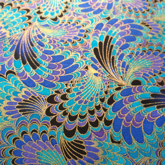 Hlqon 100 Cotton Sateen Stretch Peacock Feathers Fabric For Sewing