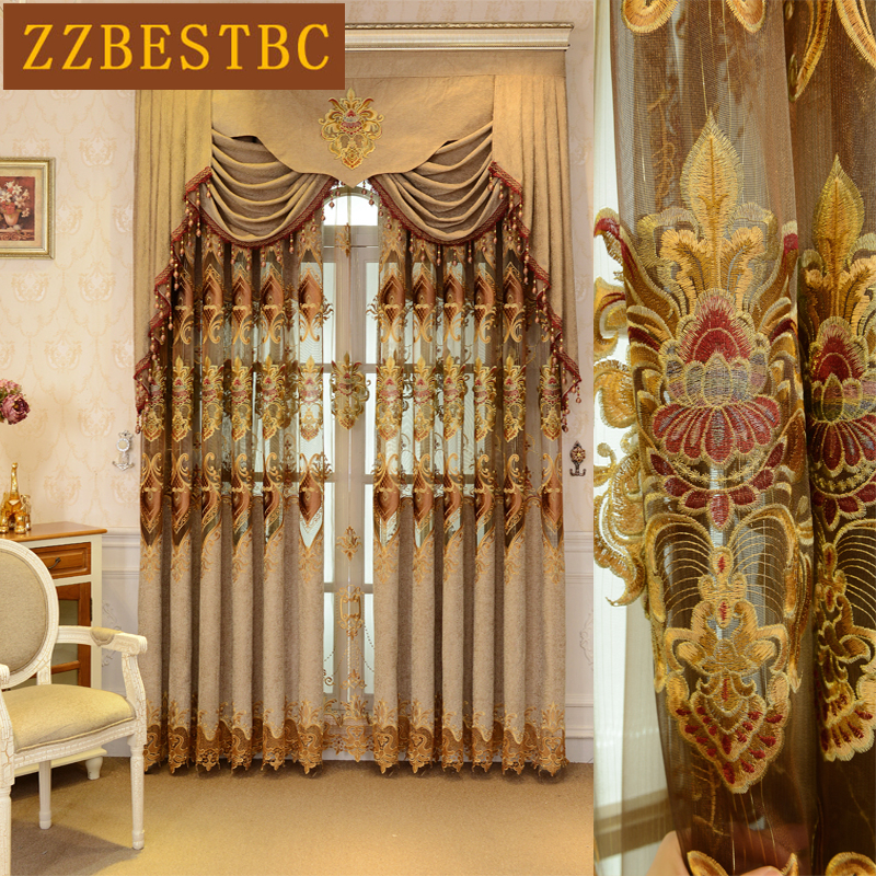 Chinese modern luxury brown embroidered floor Curtains for living room high quality Voile Curtain for bedroom kitchen in Curtains from Home Garden