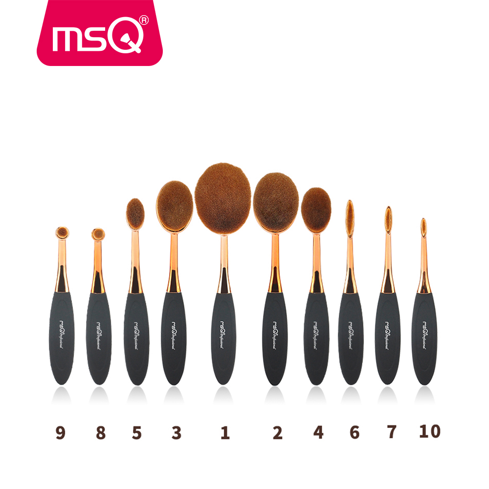 MSQ Pro Face Oval Rose Gold Makeup Brushes Set Eye Foundation BB Cream Base Powder Puff Blusher Cosmetic Tool Toothbrush Shaped new arrive makeup brush face powder blusher toothbrush foundation oval brushes cosmetic tool
