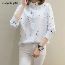 nvyou gou Casual Printed Long Sleeve Stand Collar Blouse Shirts