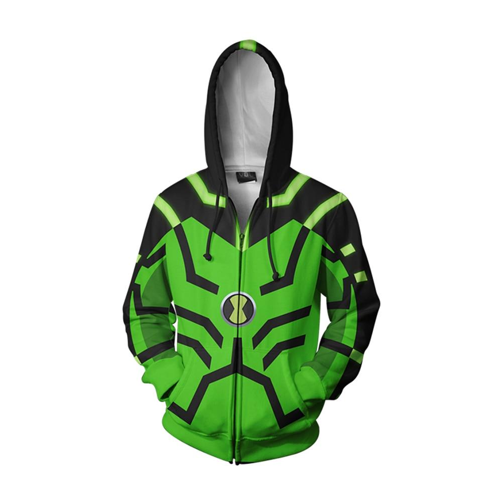 Anime Ben 10 Alien Force Cosplay Hoodies 3D Printed Men Women Adults Sweatshirt Zipper Jacket Benjamin Tennyson Cosplay Costume