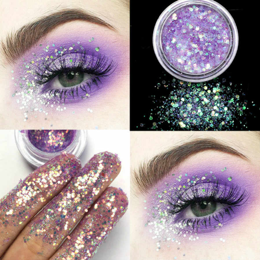 1 PC Fashion Ungu 12 Warna Menawan Mata Makeup Glitter Eyeshadow Bubuk Pigmen Mineral Spangle Riasan Kosmetik Set Panjang tahan Lama