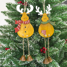 New Cute Wooden Elk Santa Pendant Christmas Tree Ornaments Hanging with Jingle Bells Decoration Supplies Years