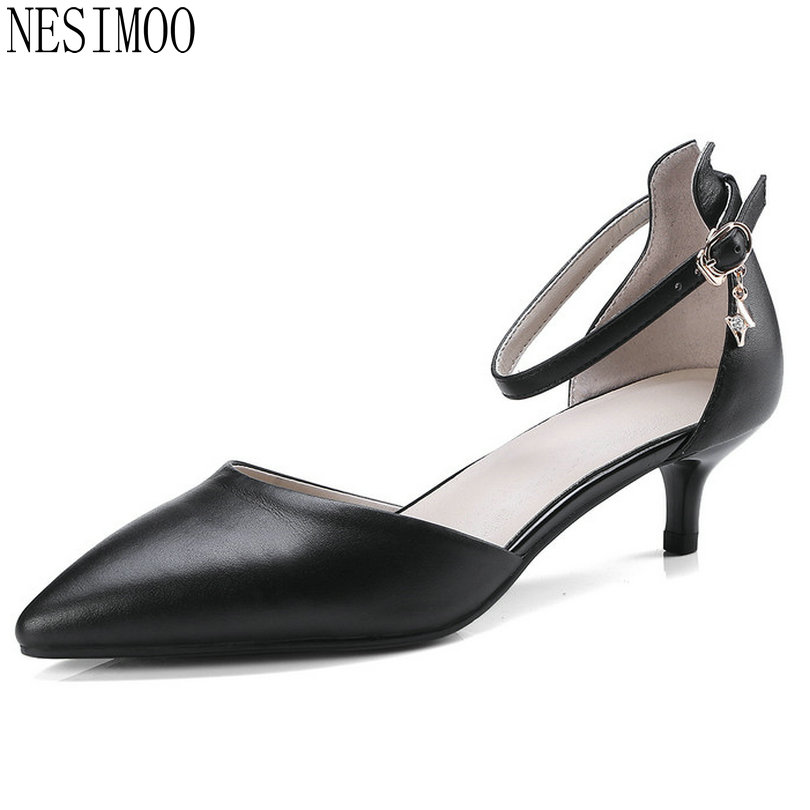 NESIMOO 2018 Women Pumps Ladies Wedding Shoes Fashion Cow Leather+pu Pointed Toe Thin High Heel All Match Women Pumps Size 34-41 plus big size 34 47 shoes woman 2017 new arrival wedding ladies high heel fashion sweet dress pointed toe women pumps a 3