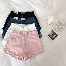 Джинсовые шорты женские 2019 летние повседневные вымытые белые дырочные шорты флэш джинсовые шорты  Лучший!