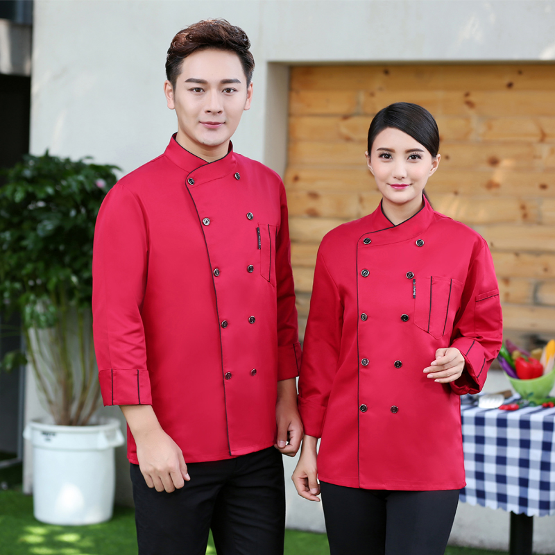 Newly Long-Sleeved Restaurant Accessories Chef's Jacket Hotel Uniform Bakery Kitchen Unisex Work Clothes Cooking Coat Overalls