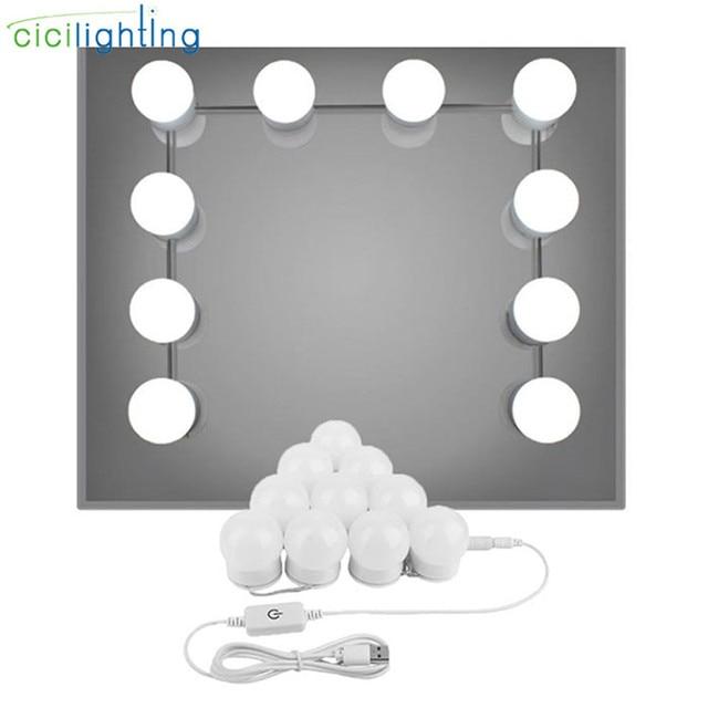 Moderno palo vanidad de luces DC5V estilo Hollywood espejo de maquillaje LED  Kit de luces con 01b68a69169b