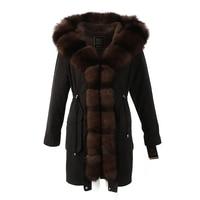 Womens winter long parkas coat jacket fox raccoon fur collar detachable rabbit fur liner hooded black blue green brown 18021