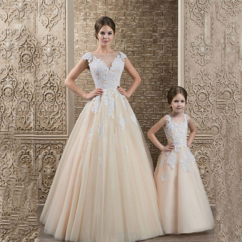 Puffy Tulle Lace Flower Girl Dresses for Weddings Mother Daughter Dresses Glitz A-Line First Communion Dresses for Girls ts515a desktop manual meat tenderizer machine with removable head for electric use